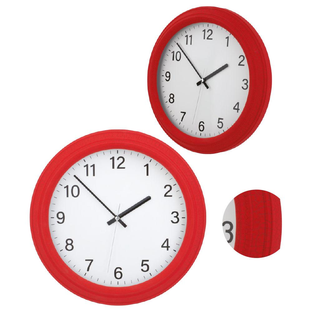 Kırmızı Çatlak Desenli Plastik Duvar Saati